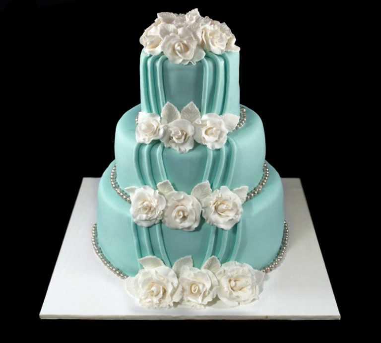 Бирюзовый свадебный торт