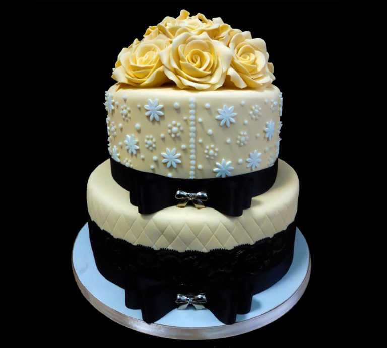Свадебный торт с Желтыми розами