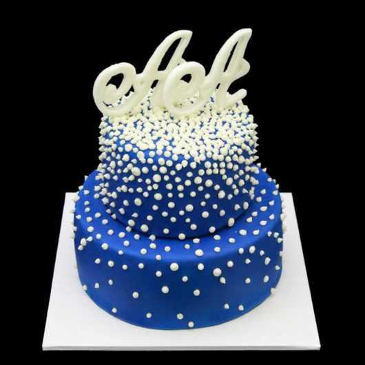 Синий свадебный торт